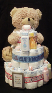 Personalized sports diaper cakes custom diaper cakes baseball baseball stinky cakes fun sports baby gifts negle Images