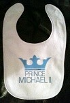 Custom Prince Stinky Cakes Bibs | Personalized Fun Baby Gifts